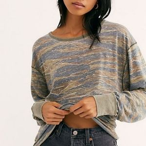 NWT Free People Arielle Army Printed Long Sleeve